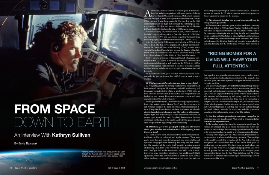 Space Weather Editorial Spread Design and Layout for Print and Mobile