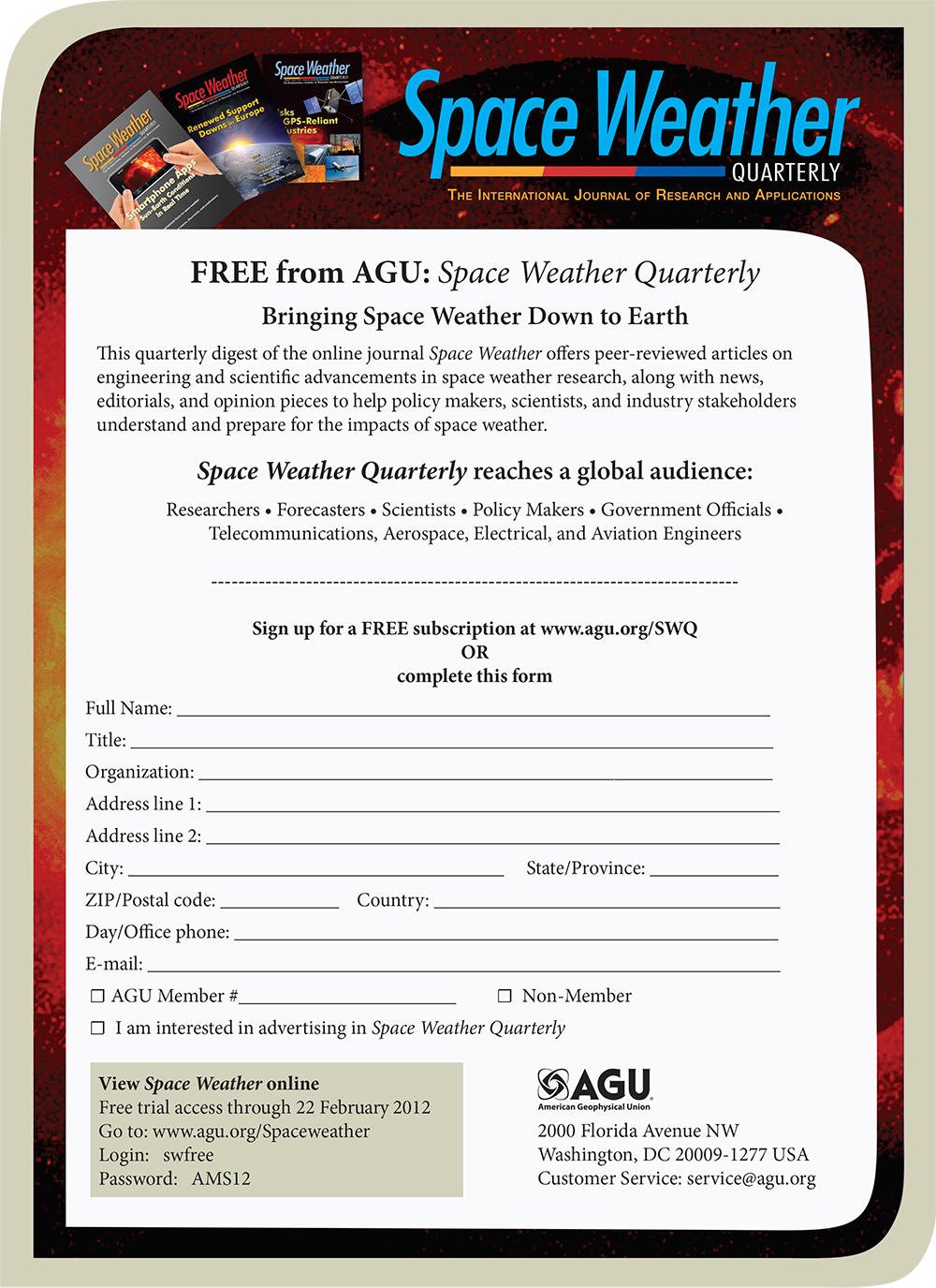 Space Weather Subscription Card Interactive PDF Design and Layout