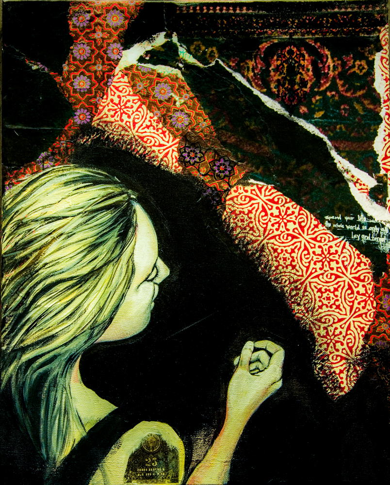 Walk Away and Forget 2009 18x24 Acrylic, Photo Collage
